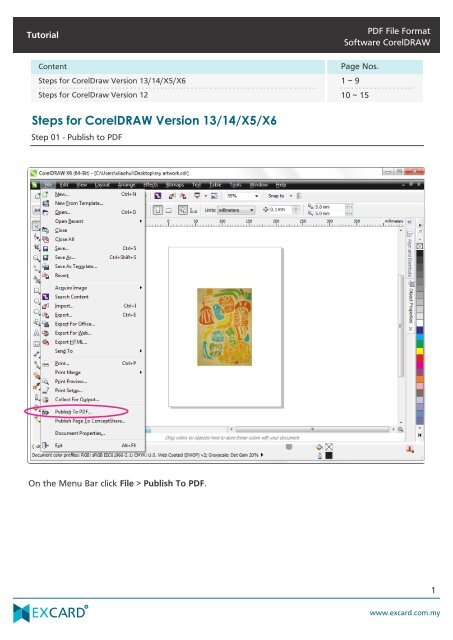 PDF File Format Software CorelDRAW Tutorial - Excard