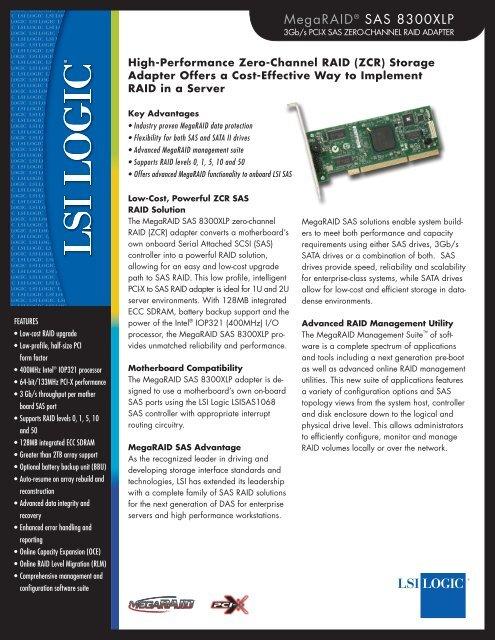 MegaRAID SAS 8300XLP Product Brief - Computerworld