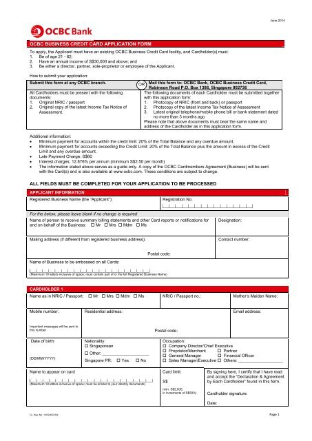 Card Application Form - OCBC Bank