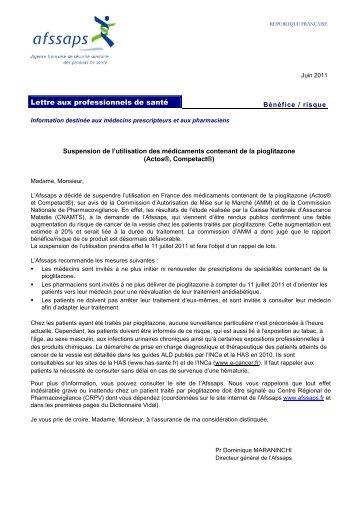 Lettre suspension Actos - ANSM