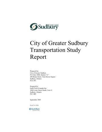 City of Greater Sudbury Transportation Study Report