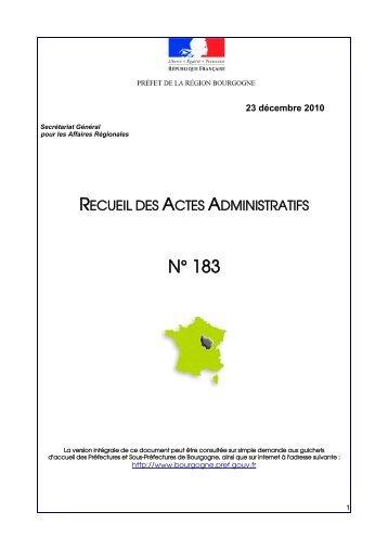 RAA 183 - Préfecture de la Côte-d'Or