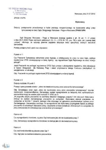 odpowiedzi na pytania - Sąd Okręgowy Warszawa-Praga