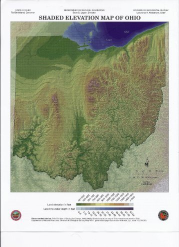 SHADED ELEVATION MAP OF OHIO - Austintown Township, Ohio