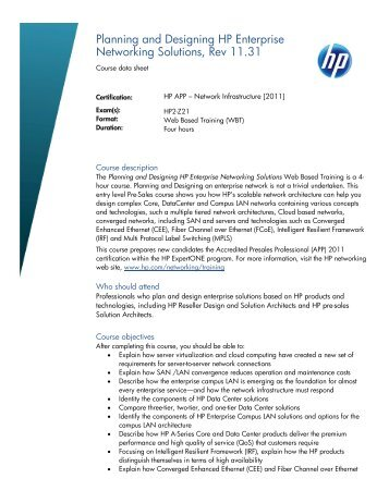 Planning and Designing HP Enterprise Networking Solutions, Rev ...