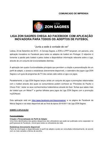 liga zon sagres chega ao facebook com aplicação inovadora para ...