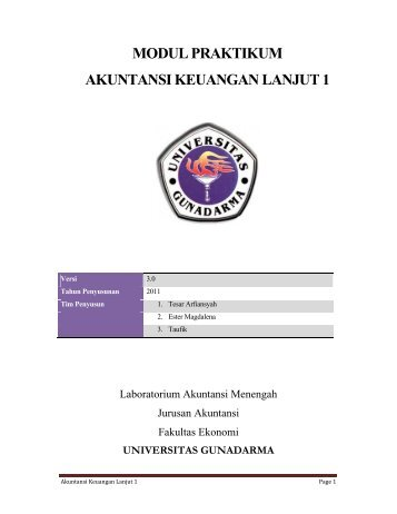 modul praktikum akuntansi keuangan lanjut 1 - iLab - Universitas ...