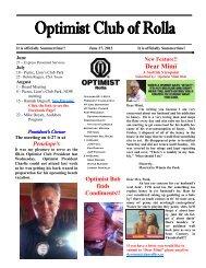 Rolla Optimist Newsletter 6-27-12