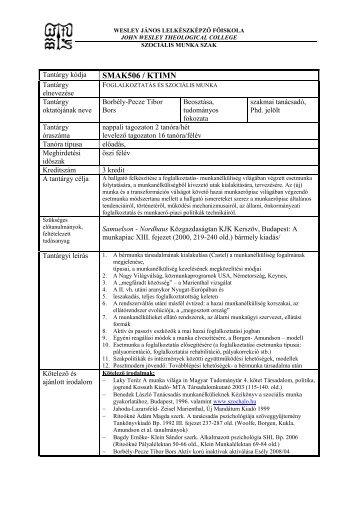 Foglalkoztatás és szocmunka - Wesley János Lelkészképző Főiskola