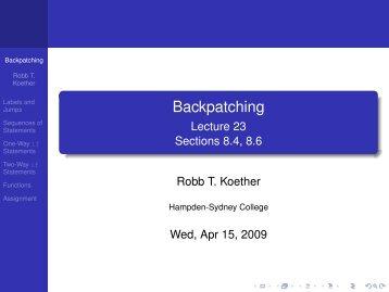 Backpatching.pdf - Hampden-Sydney College