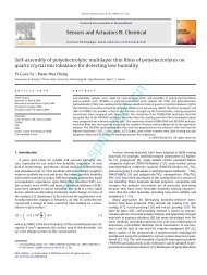 013 .Self-assembly of polyelectrolytic multilayer thin films of ...