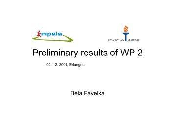 Preliminary results of WP 2 - Impala-eu.org