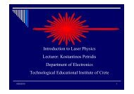 Introduction to Laser Physics Lecturer: Kostantinos Petridis ...