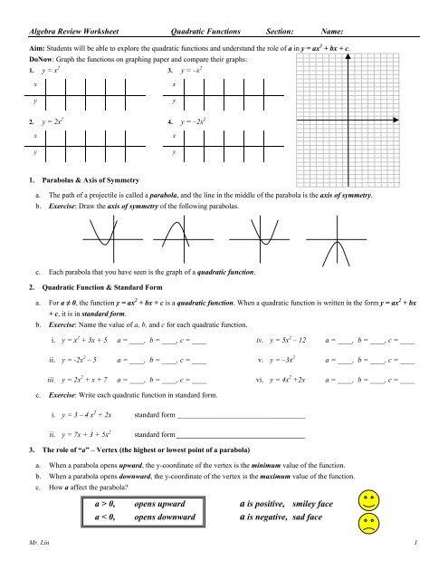 algebra review quadratic functions worksheet 01. Black Bedroom Furniture Sets. Home Design Ideas