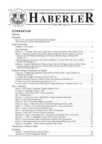 HABERLER - Türk Eskiçağ Bilimleri Enstitüsü