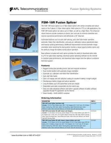 Data Sheet - AFL FSM-18R Fusion Splicer