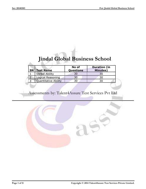Download the JAT Sample Question - Jgbs.edu.in