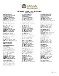 WISCONSIN FACILITIES DIRECTORY - Wisconsin PGA
