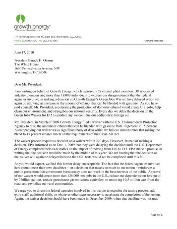 letter to President Obama - Growth Energy