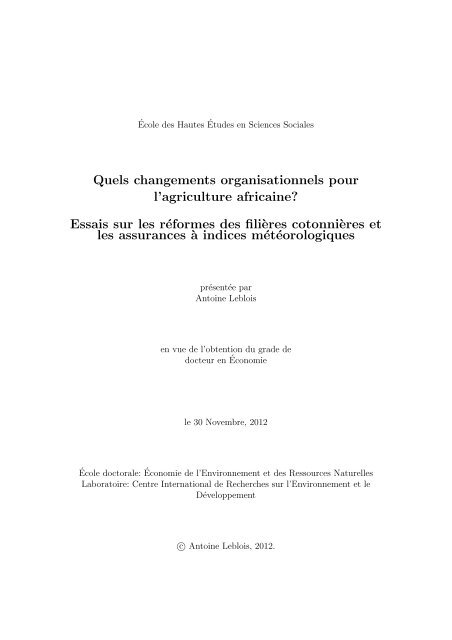PhD Thesis, 12/2011 - Centre International de Recherche sur l ...