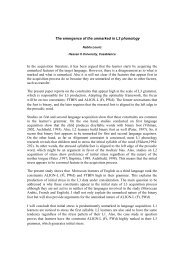 The emergence of the unmarked in L3 phonology In the acquisition ...