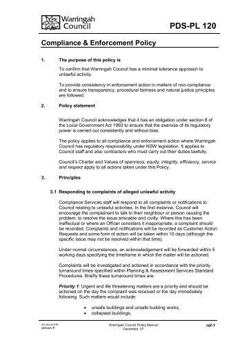 PDSPL 120 - Warringah Council - NSW Government