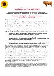 Keine Patente auf Tiere und Pflanzen! - Bingenheimer Saatgut AG