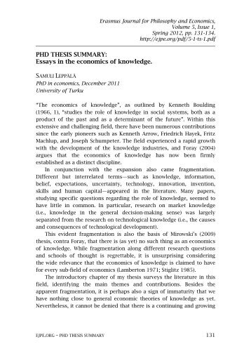 Essays in the economics of knowledge. - Erasmus Journal for ...