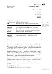 2006.03.31 Østjysk Energi Net ctr. Energitilsynet vedr. Østjysk ...