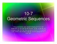 10-7 Geometric Sequences 10-7 Geometric Sequences
