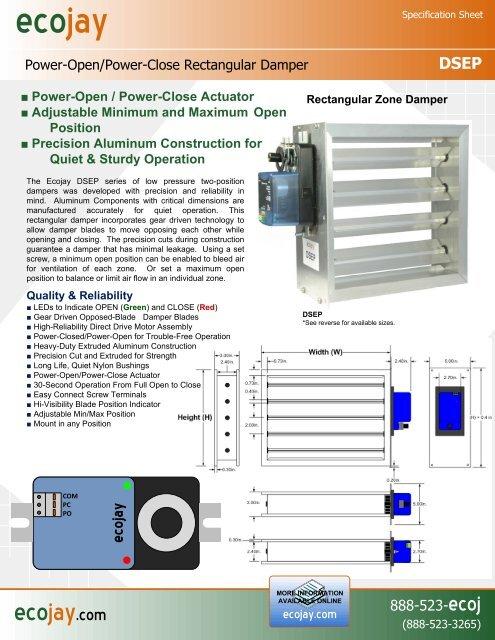 Visio-Ecojay Rectangular Power Damper Specsheet vsd - Ecojay com