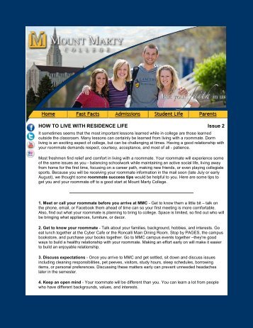 How to Live with Residence Life - Mount Marty College