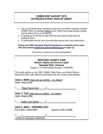 cinms cinp july 2005 outreach event sign up sheet