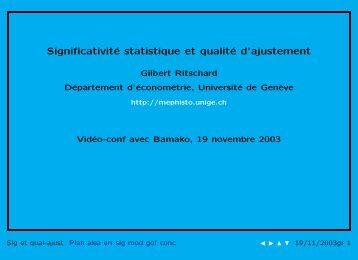 Significativité statistique et qualité d'ajustement