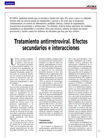 Tratamiento antirretroviral. Efectos secundarios e interacciones