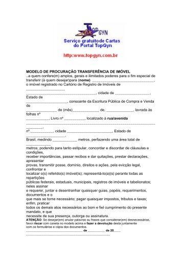 MODELO DE PROCURAÇÃO TRANSFERÊNCIA DE IMÓVEL ..a ...