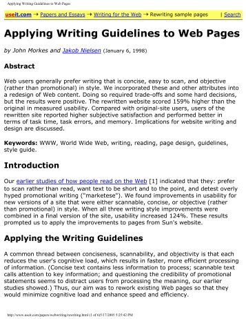 Applying Writing Guidelines to Web Pages - Sandhills Community ...