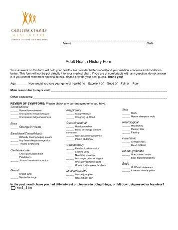 Medical History Form - Kudzu