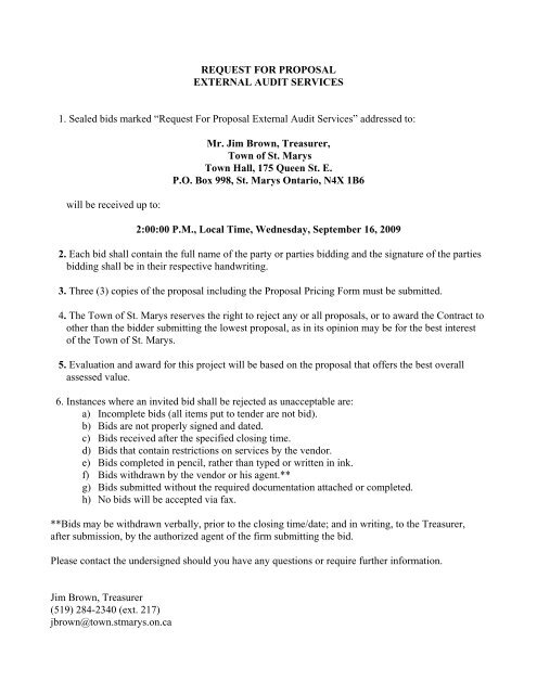 Request For Proposal External Audit Services - Town of St  Marys