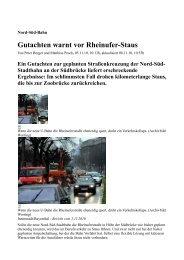 Gutachten warnt vor Rheinufer-Staus