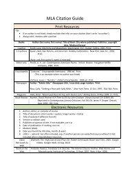 MLA Citation Guide Handout