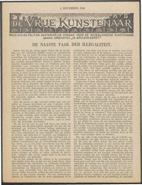 De Vrije Kunstenaar (december 1944) - Vakbeweging in de oorlog