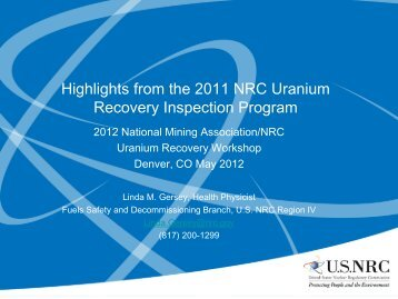2012 NRC Uranium Recovery Inspection Findings - National Mining ...