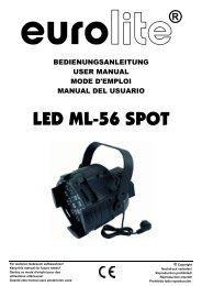EUROLITE LED ML-56 Spot User Manual - LTT Versand GmbH