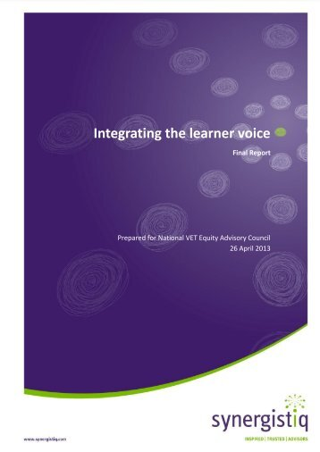 Integrating the learner voice - nveac - natese