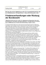 Friedensverhandlungen oder Rückzug der Bundeswehr - Uwe Roth