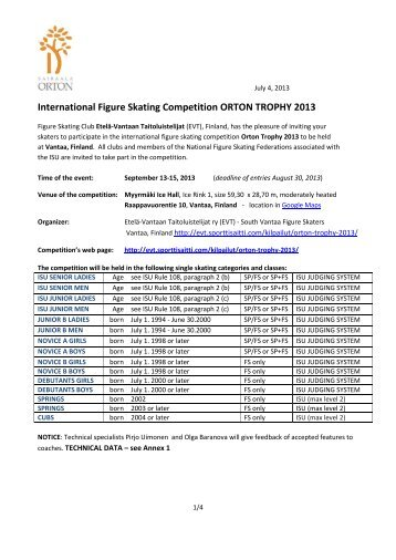 International Figure Skating Competition ORTON TROPHY 2013