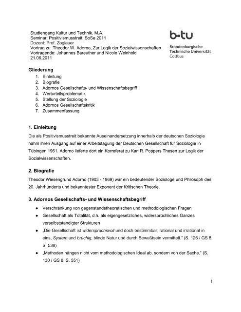 Gliederung 1 Einleitung 2 Biografie 3 Adornos Gesellschafts Studiy