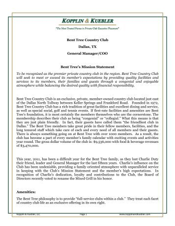 Bent Tree Country Club Dallas, TX General Manager/COO Bent ...