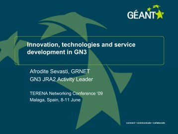 Innovation, technologies and service development in GN3 - Géant